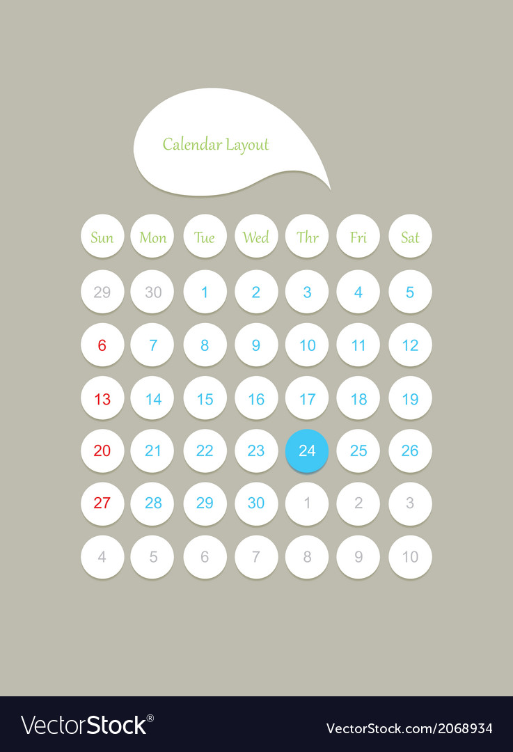 Calendar layout vector | Price: 1 Credit (USD $1)