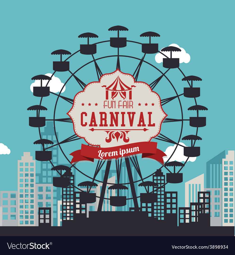 Carnival design over urbanscape background vector | Price: 1 Credit (USD $1)