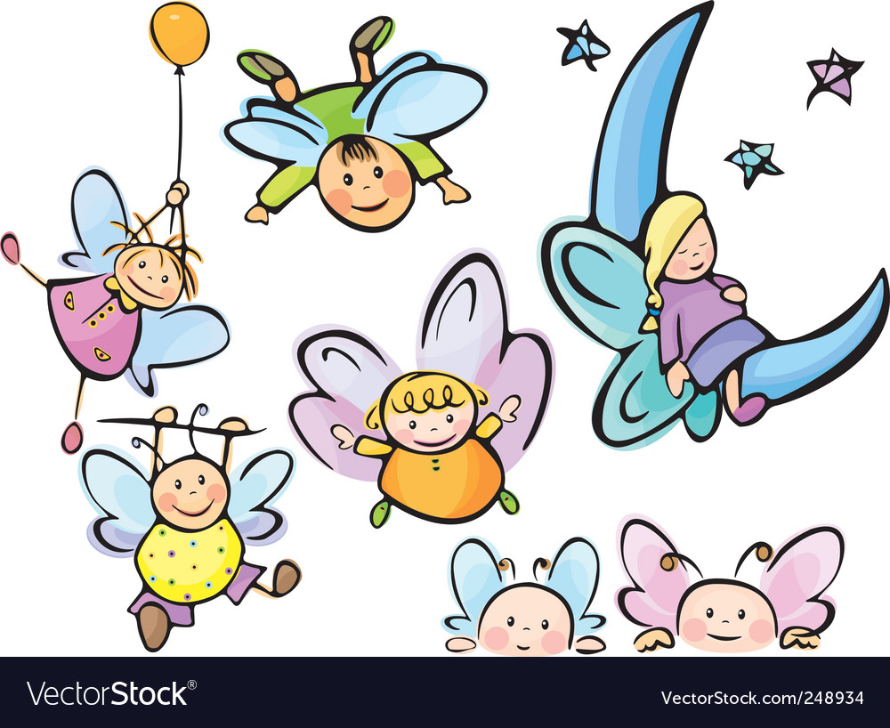 Cute angels for your design vector | Price: 1 Credit (USD $1)
