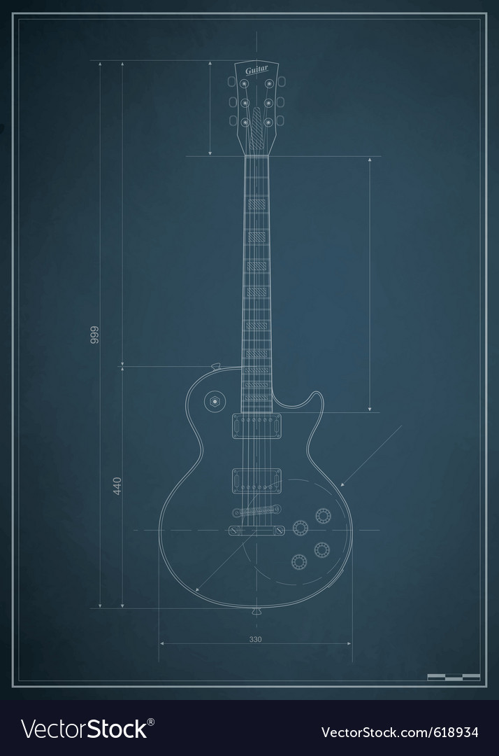 Electric guitar blueprint vector | Price: 1 Credit (USD $1)