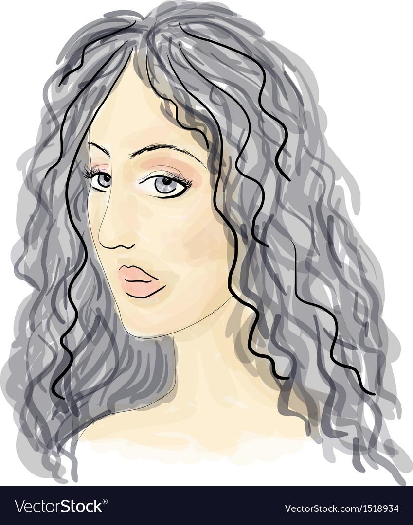 Girl sketch vector | Price: 1 Credit (USD $1)