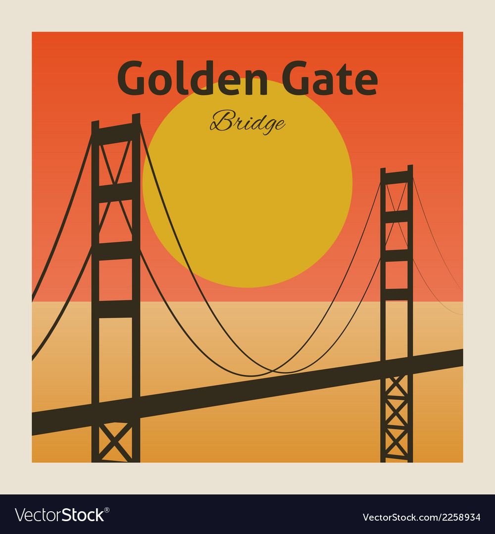 Golden gate bridge poster vector | Price: 1 Credit (USD $1)