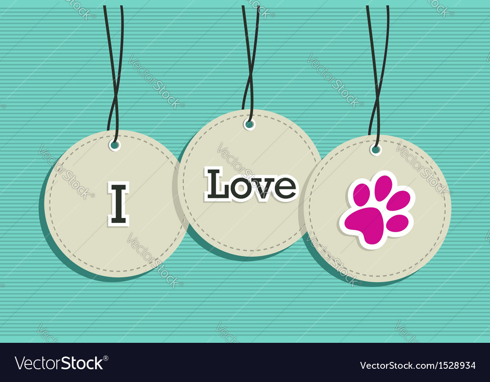 Hanging i love pets badges vector | Price: 1 Credit (USD $1)