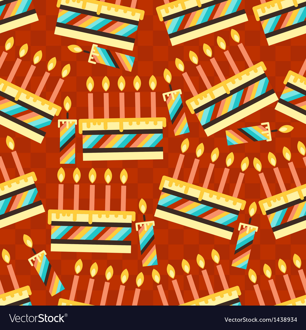 Happy birthday party seamless pattern with cakes vector | Price: 1 Credit (USD $1)