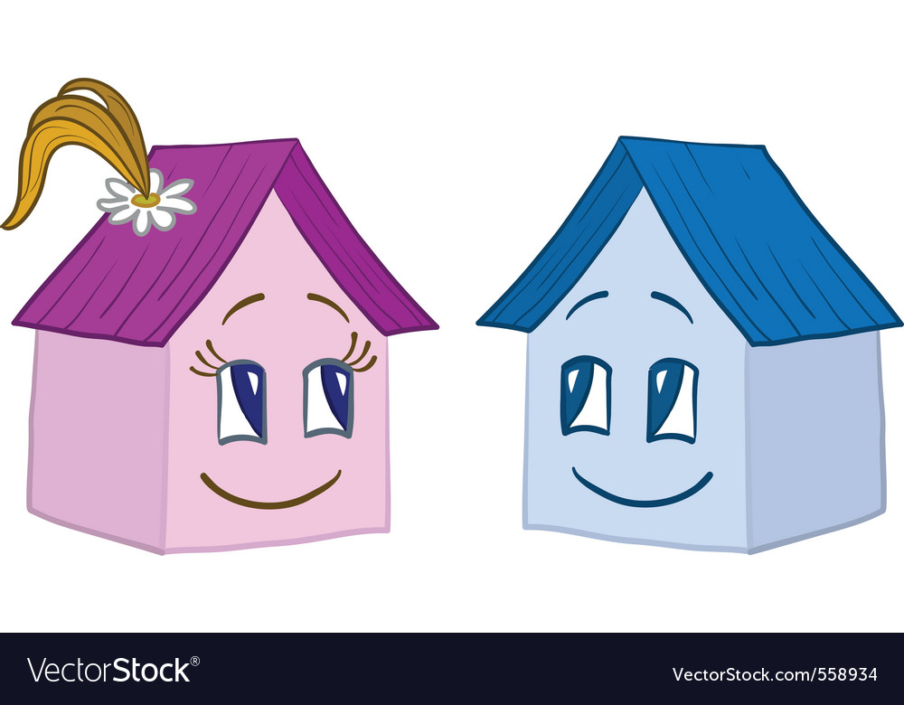 Houses girl and boy contours vector | Price: 1 Credit (USD $1)
