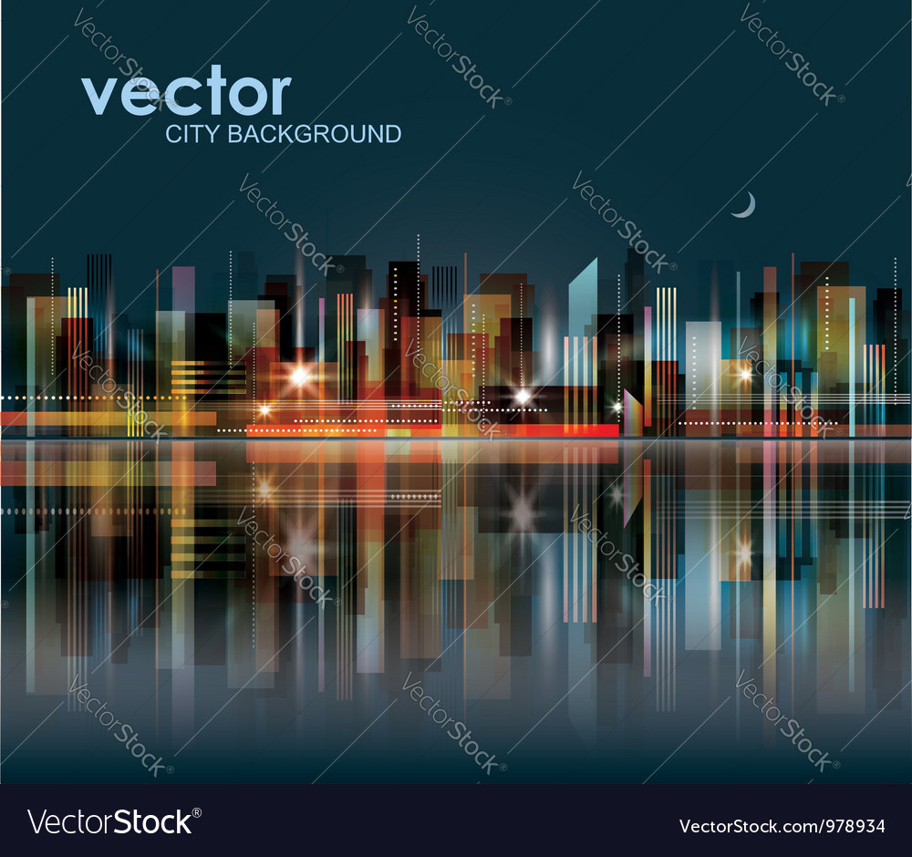 Modern night cityscape background vector | Price: 1 Credit (USD $1)