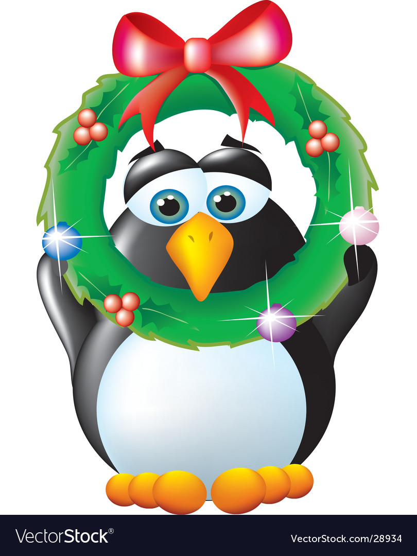Penguin with wreath vector | Price:  Credit (USD $)