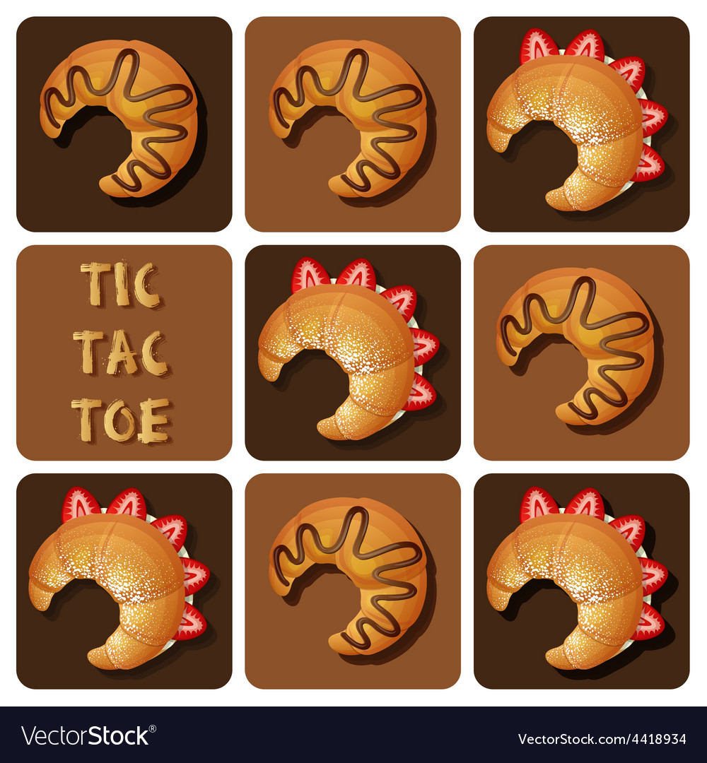 Tic-tac-toe of strawberry and chocolate croissant vector | Price: 1 Credit (USD $1)