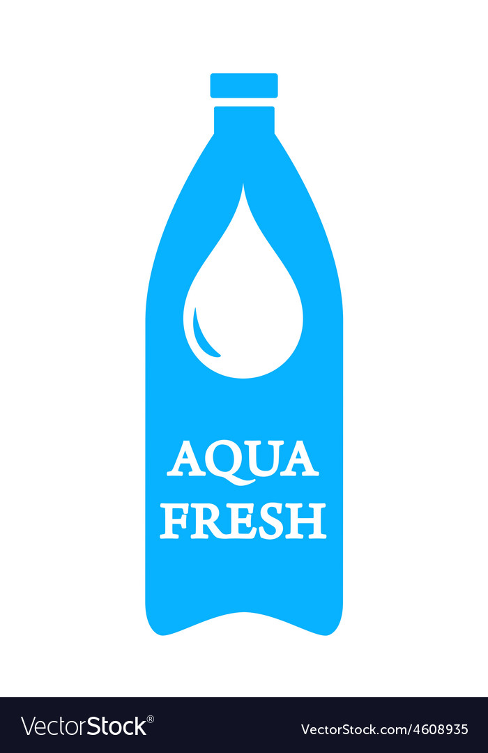 Aqua fresh icon with bottle and water drop vector | Price: 1 Credit (USD $1)