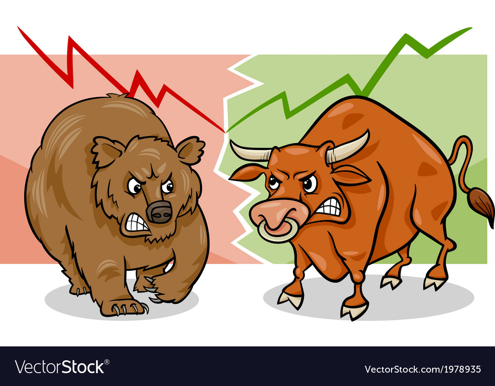 Bear and bull market cartoon vector | Price: 1 Credit (USD $1)