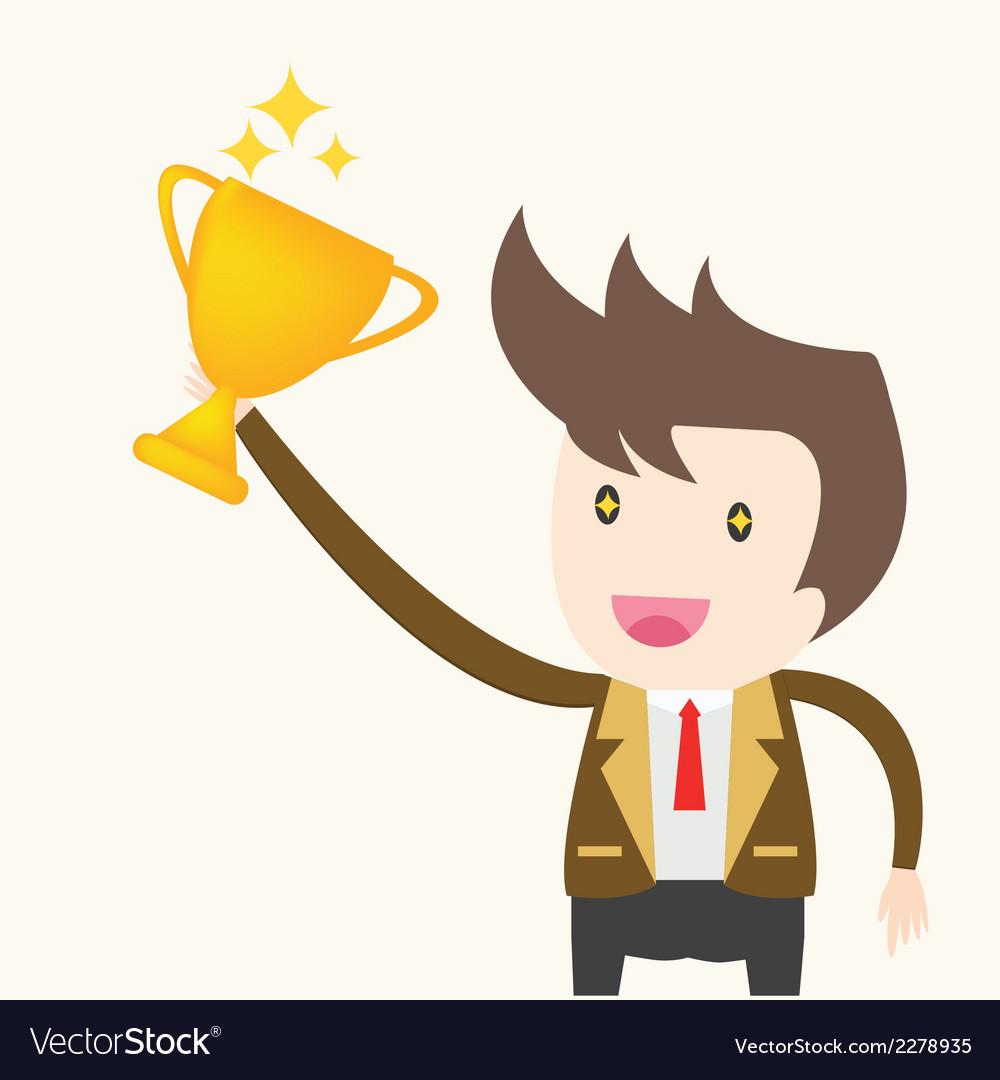 Businessman holding trophy success concept vector | Price: 1 Credit (USD $1)