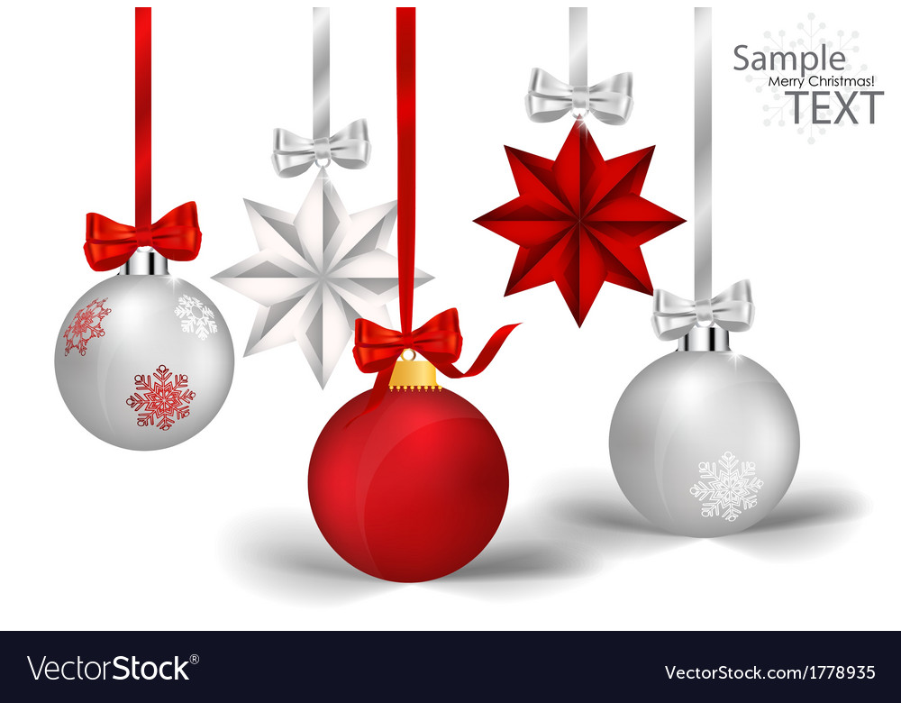Christmas decorations with ribbon and bow vector | Price: 1 Credit (USD $1)