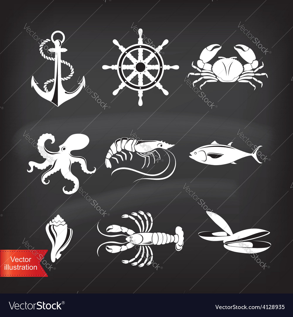 Crab lobster fish octopus set of seafood icons vector | Price: 1 Credit (USD $1)