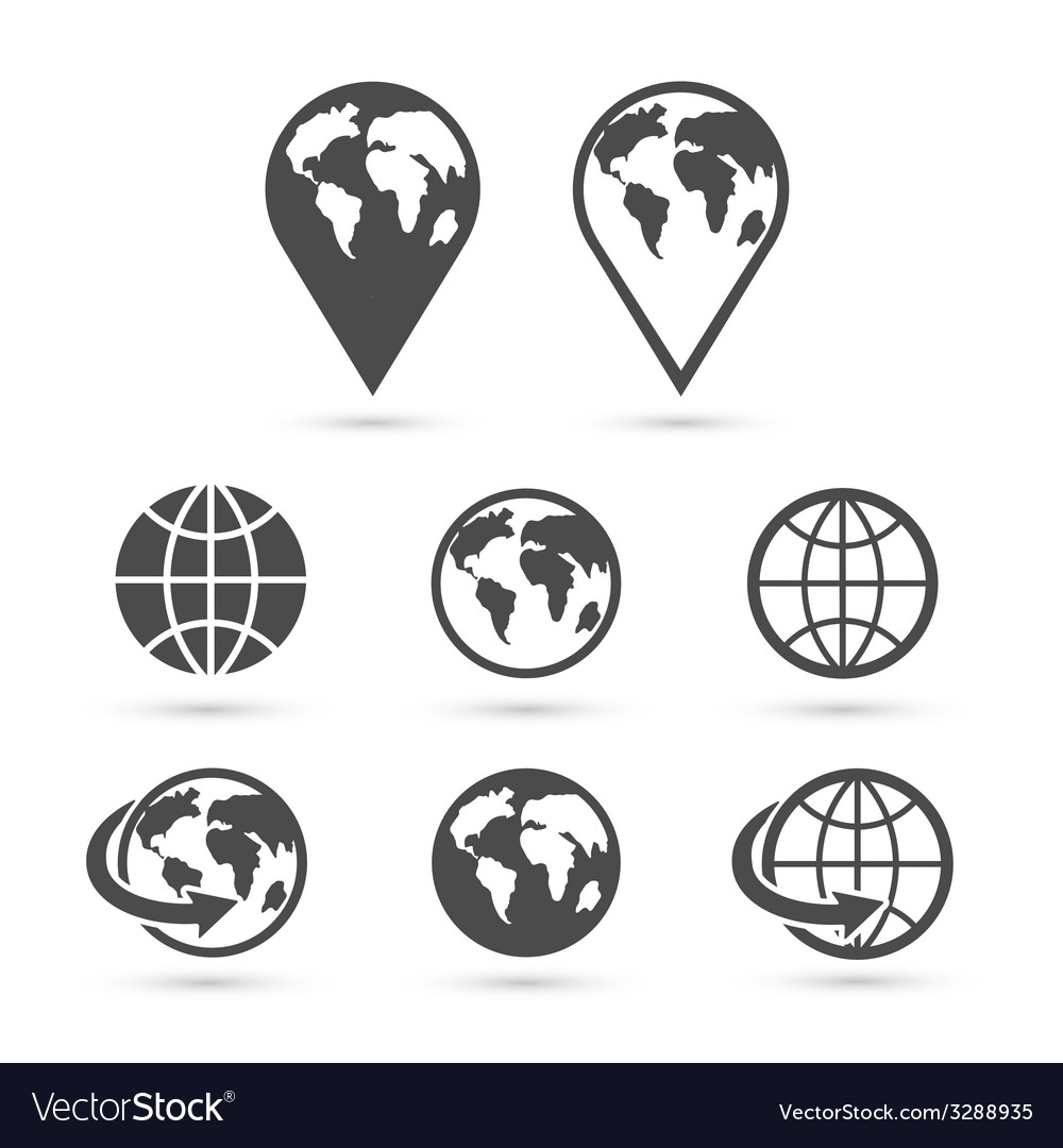 Globe earth icons set isolated on white vector | Price: 1 Credit (USD $1)
