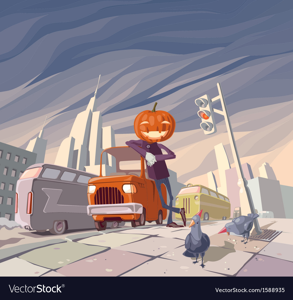 Jack olantern and his orange car vector | Price: 3 Credit (USD $3)
