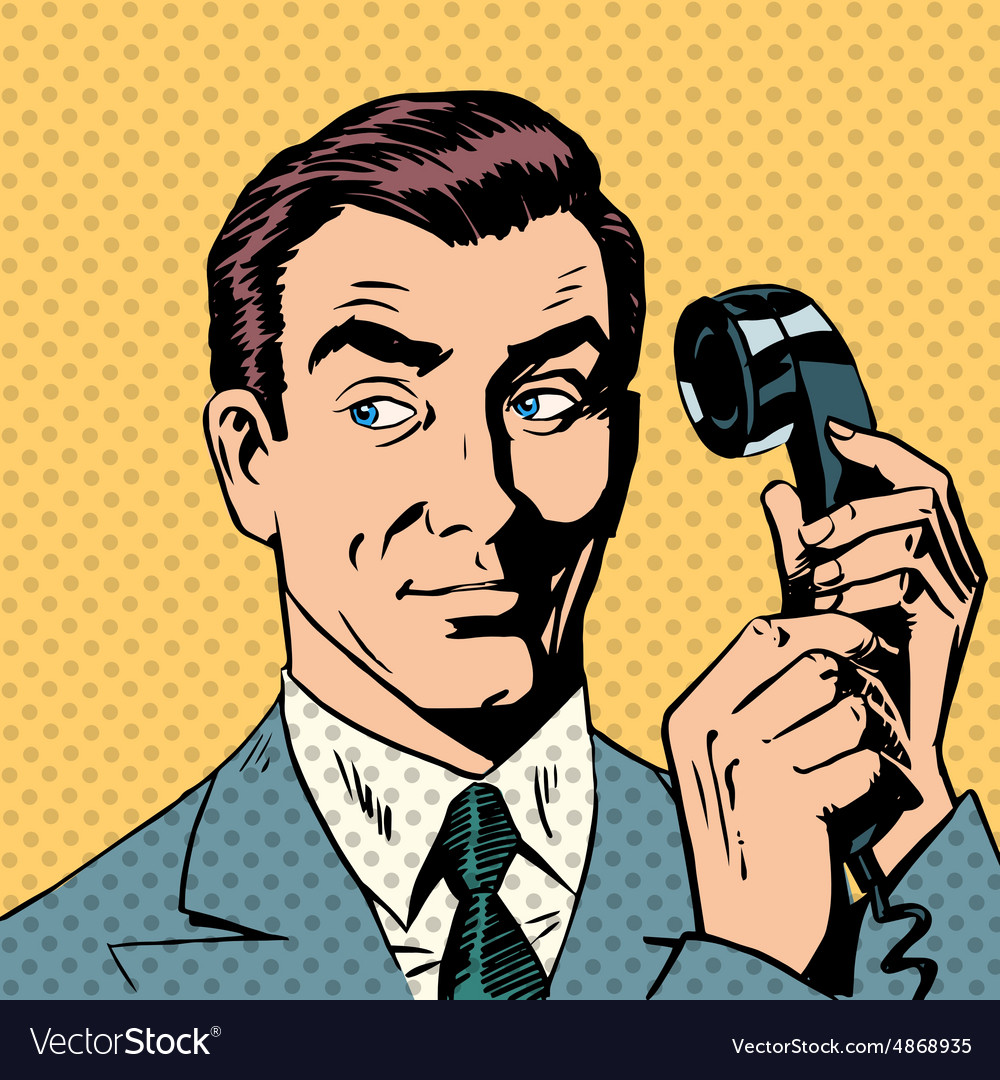Male businessman talking on the phone style pop vector