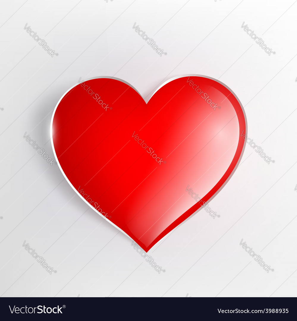 Red glowing heart on a light background vector | Price: 1 Credit (USD $1)