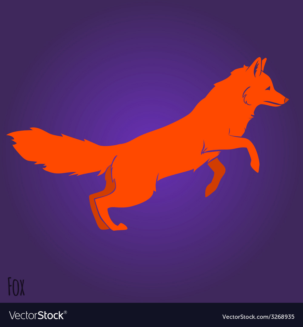 Red jumping fox silhouette vector | Price: 1 Credit (USD $1)