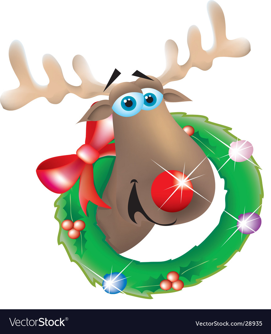 Reindeer in wreath vector | Price: 1 Credit (USD $1)