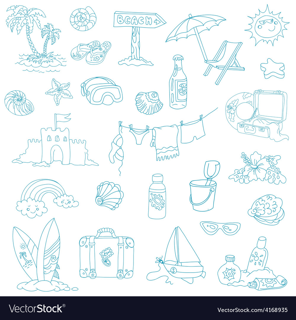 Seaside and summer - design elements vector | Price: 1 Credit (USD $1)