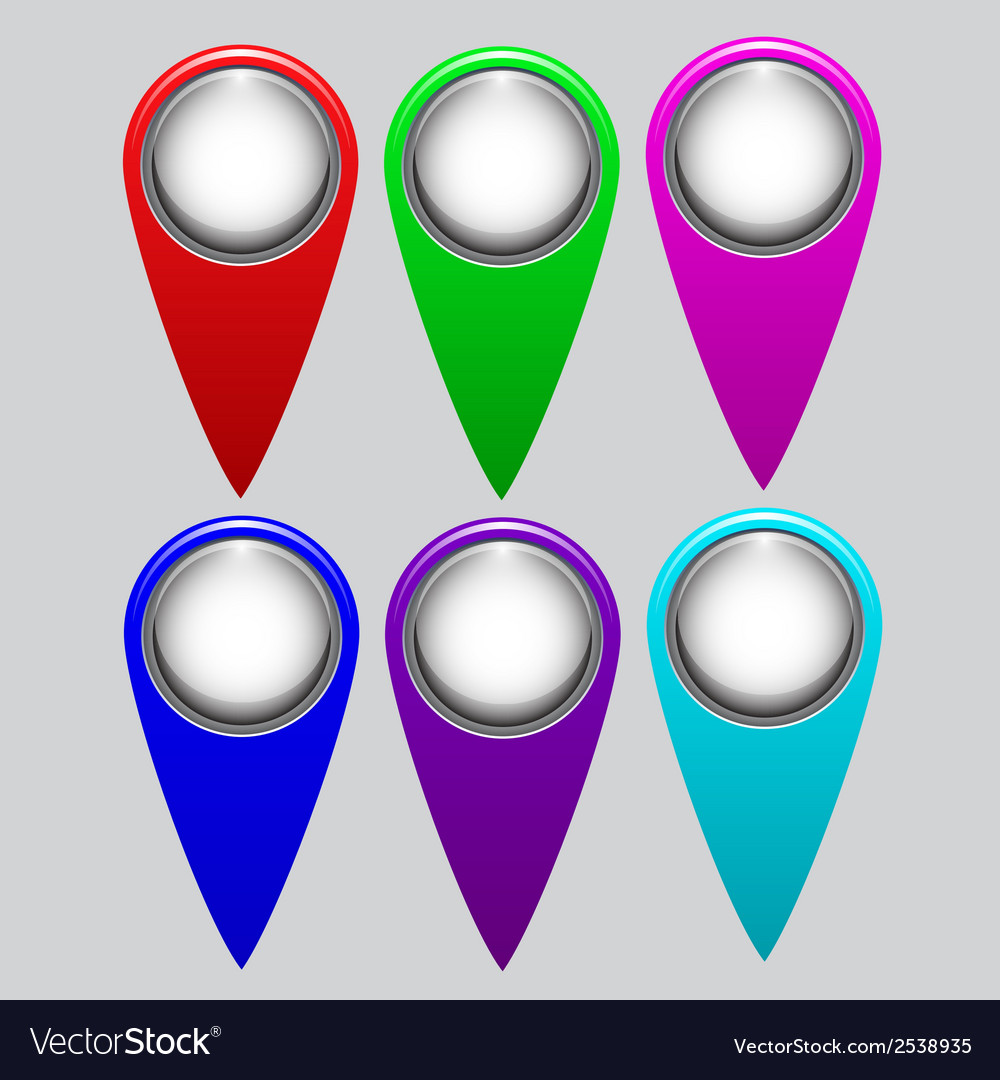Set of bright map pointers vector | Price: 1 Credit (USD $1)