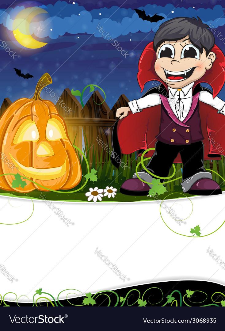 Vampire and jack o lantern vector   Price: 1 Credit (USD $1)