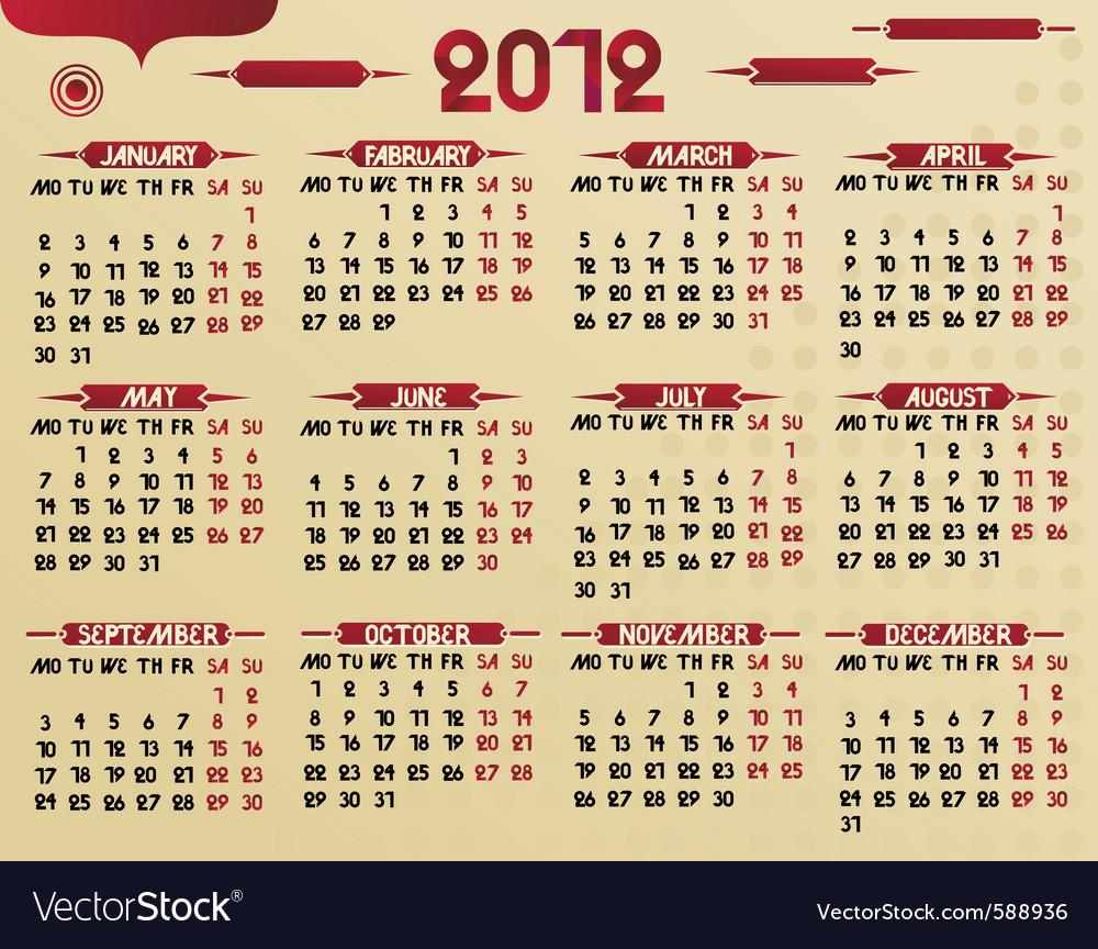 2012 calendar vector | Price: 1 Credit (USD $1)
