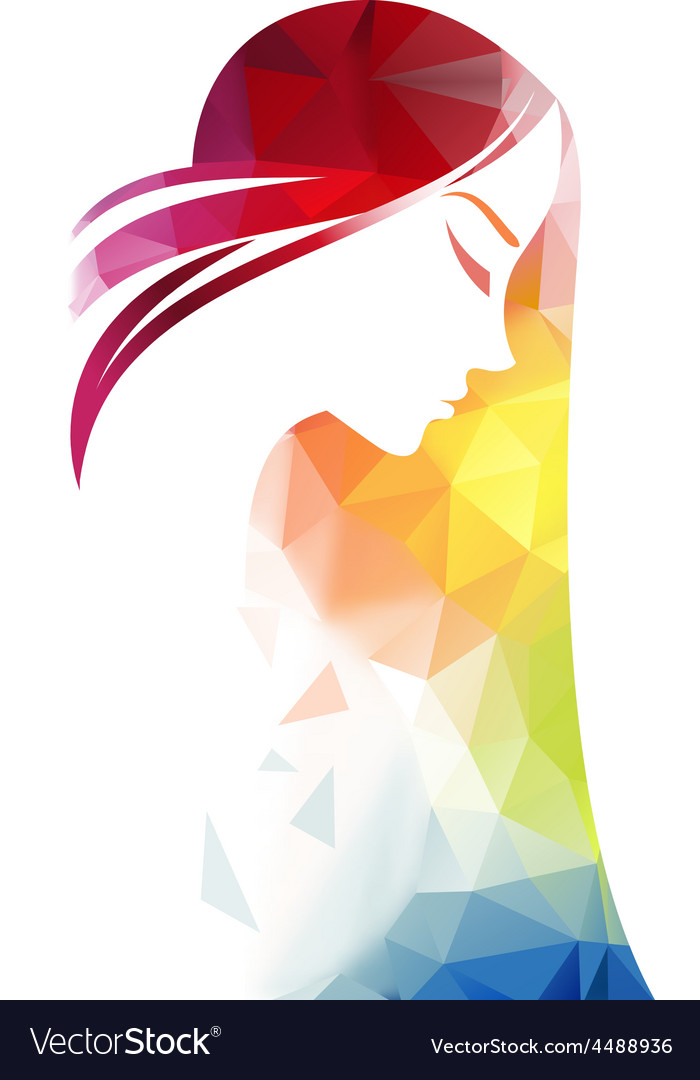 Abstract modern background with woman face vector