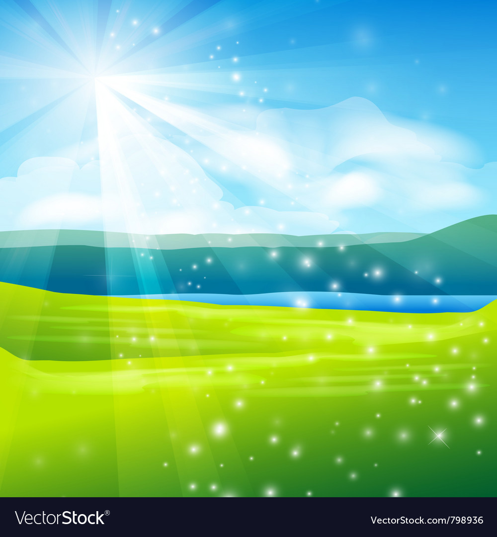 Abstract summer landscape background vector | Price: 1 Credit (USD $1)