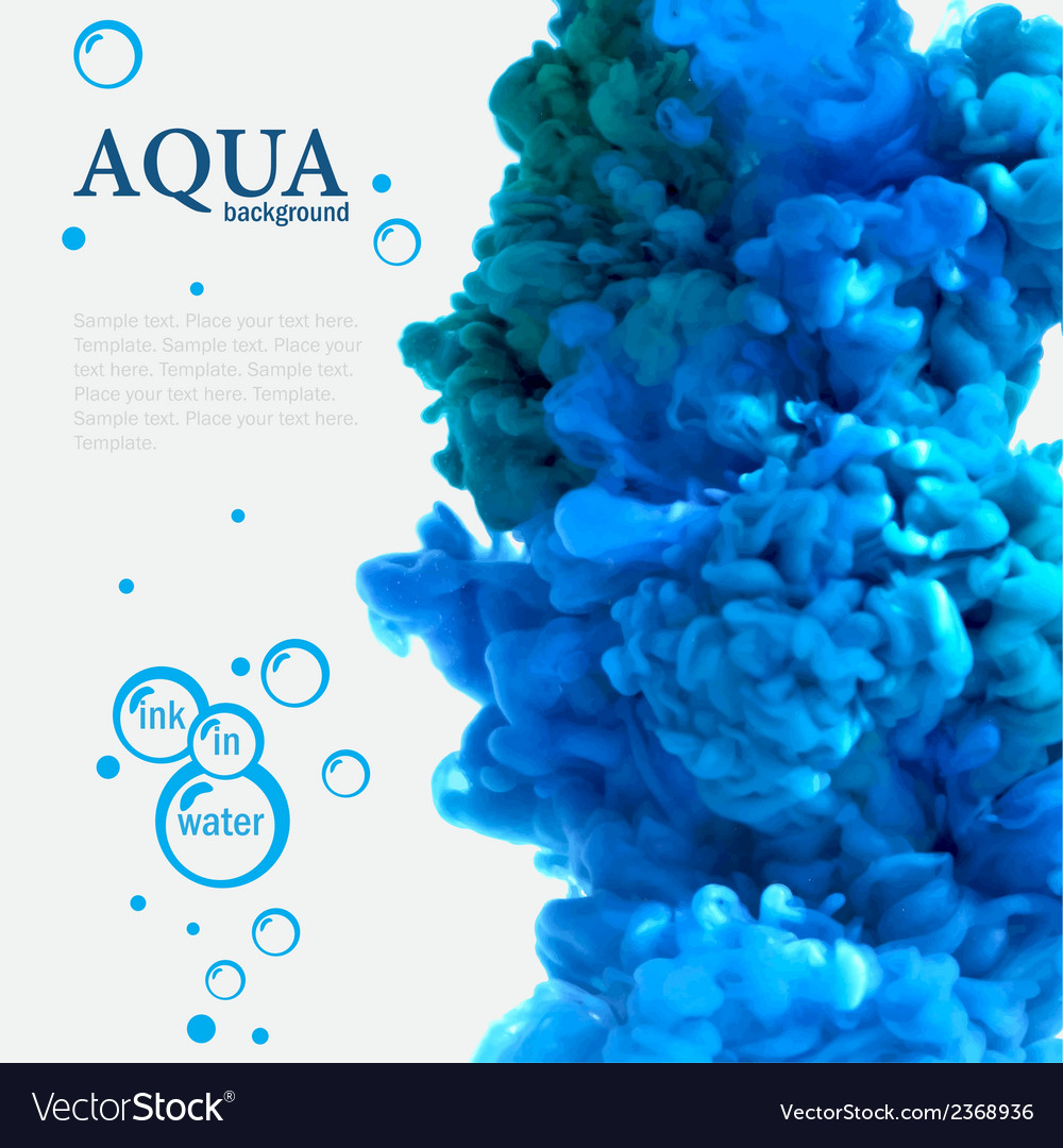 Aqua blue ink in water template with bubbles vector | Price: 1 Credit (USD $1)