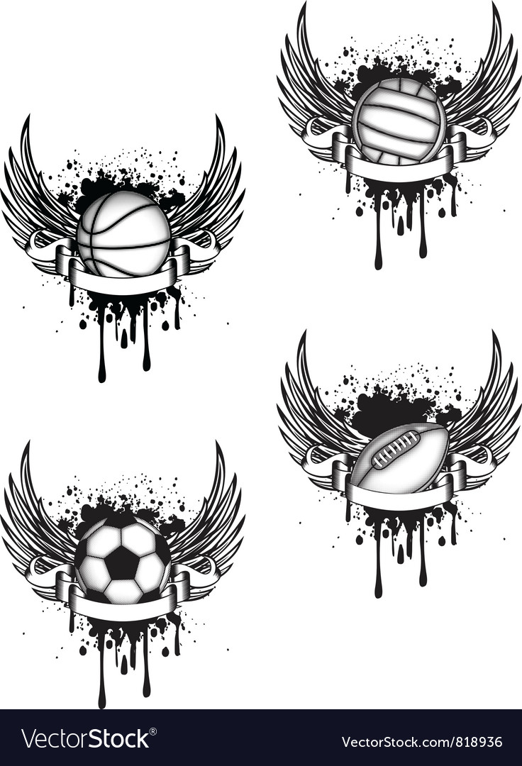 Boll with wings set vector | Price: 1 Credit (USD $1)
