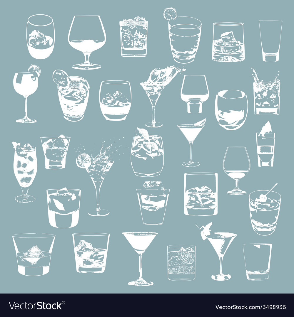Cocktails set glasses collection drinking whiskey vector | Price: 1 Credit (USD $1)