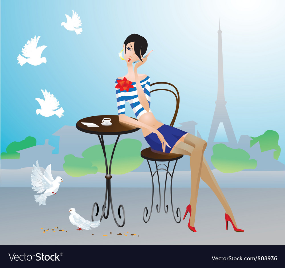 Cute young girl in paris street cafe vector | Price: 3 Credit (USD $3)