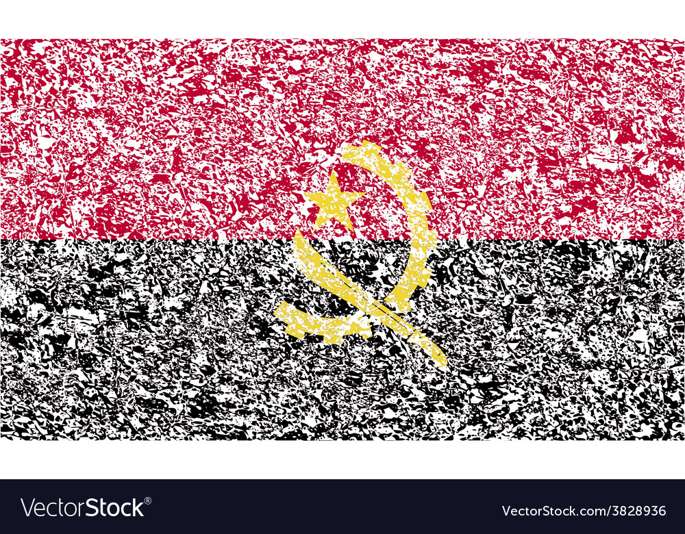 Flag of angola with old texture vector | Price: 1 Credit (USD $1)