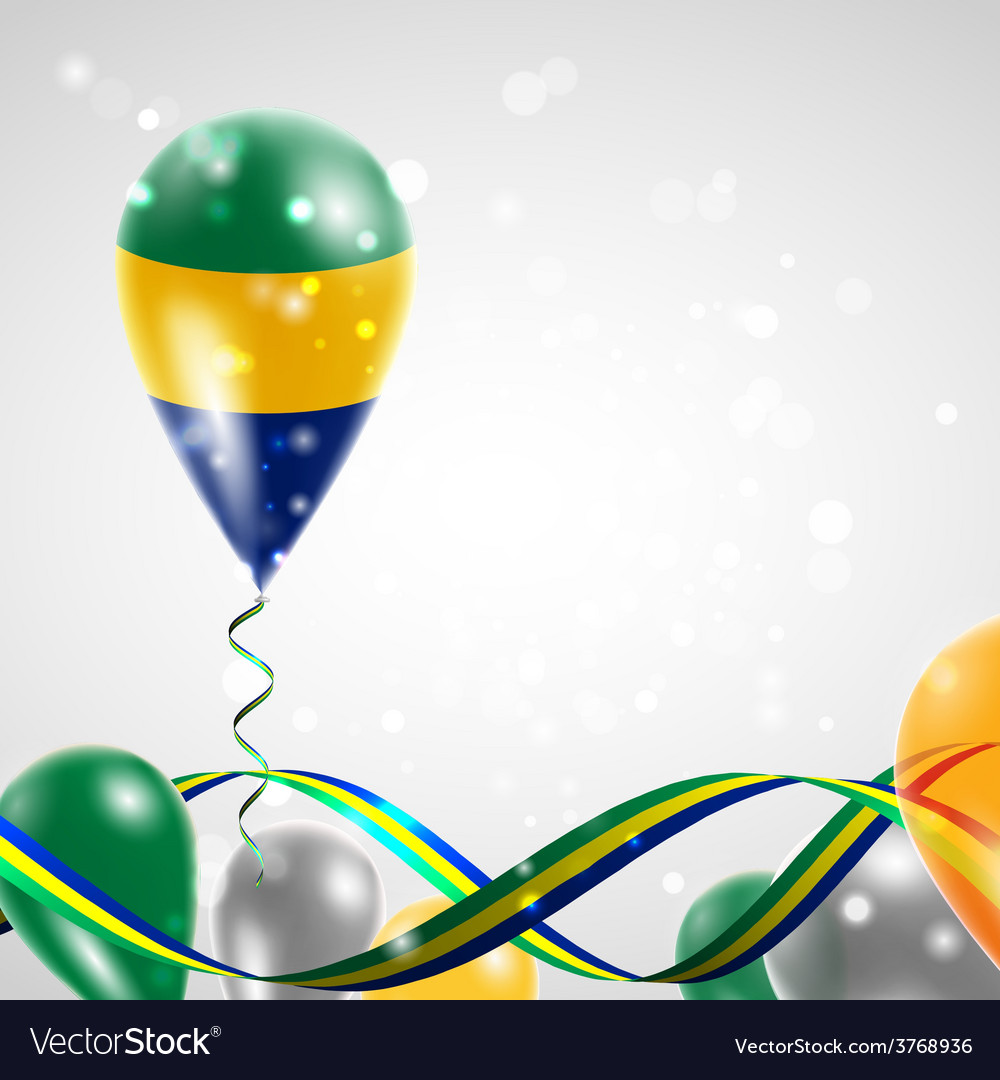 Flag of gabon on balloon vector | Price: 3 Credit (USD $3)
