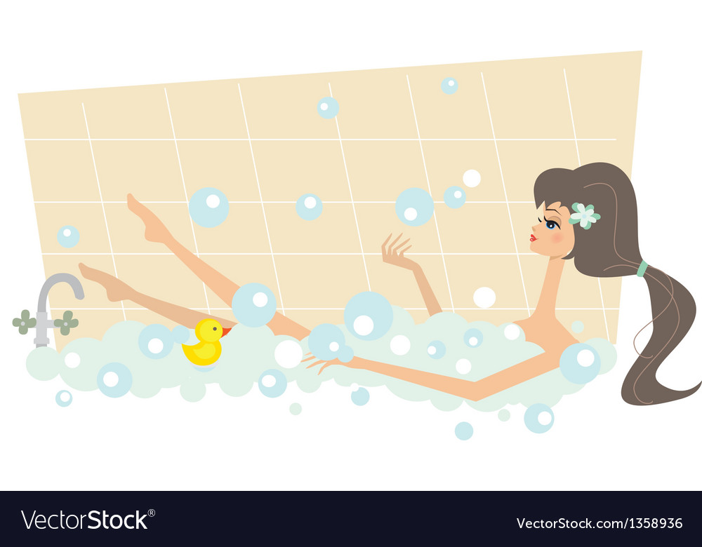 Girl taking a bath vector | Price: 1 Credit (USD $1)