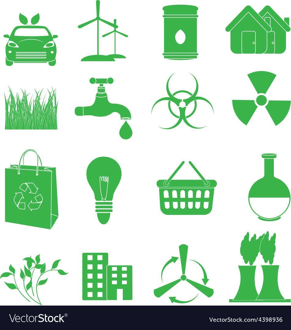 Green ecology icons set vector | Price: 3 Credit (USD $3)