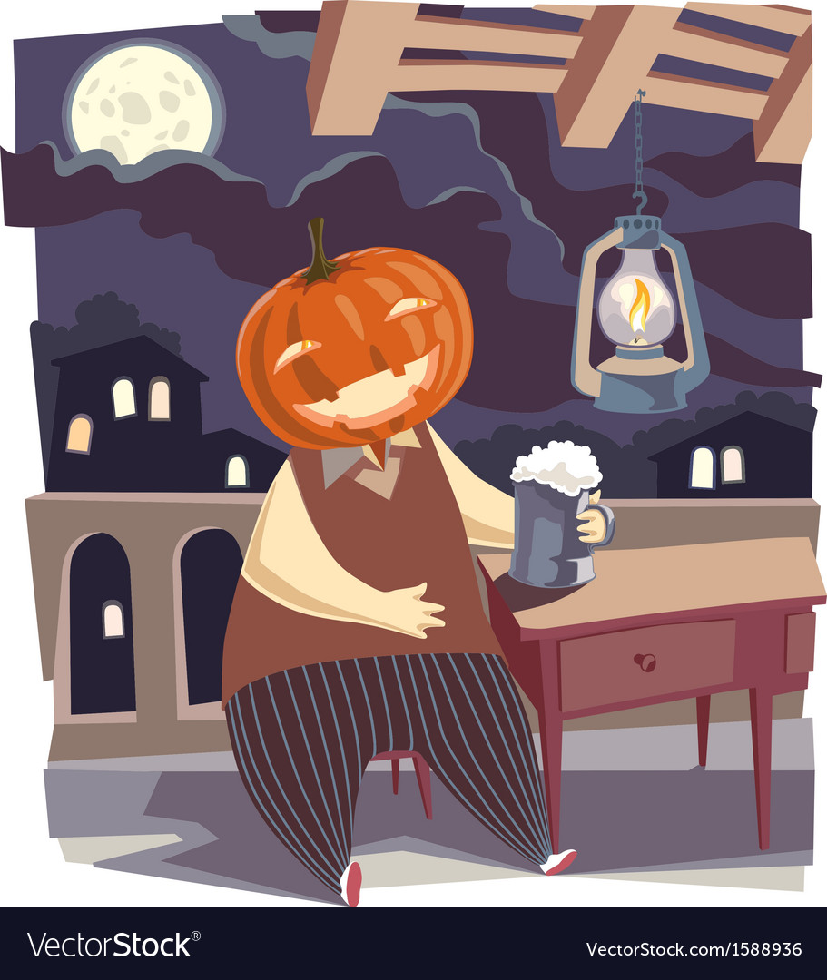 Jack o lantern with a pint of beer vector | Price: 3 Credit (USD $3)