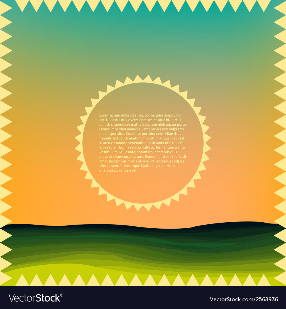 Sunrise over the hills vector | Price: 1 Credit (USD $1)