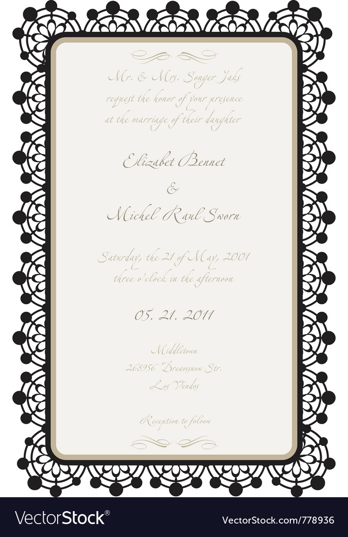 Wedding card with lace details vector | Price: 1 Credit (USD $1)