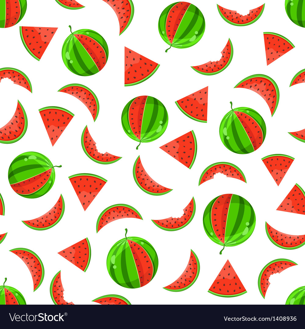 Whole and sliced watermelon seamless pattern vector | Price: 1 Credit (USD $1)