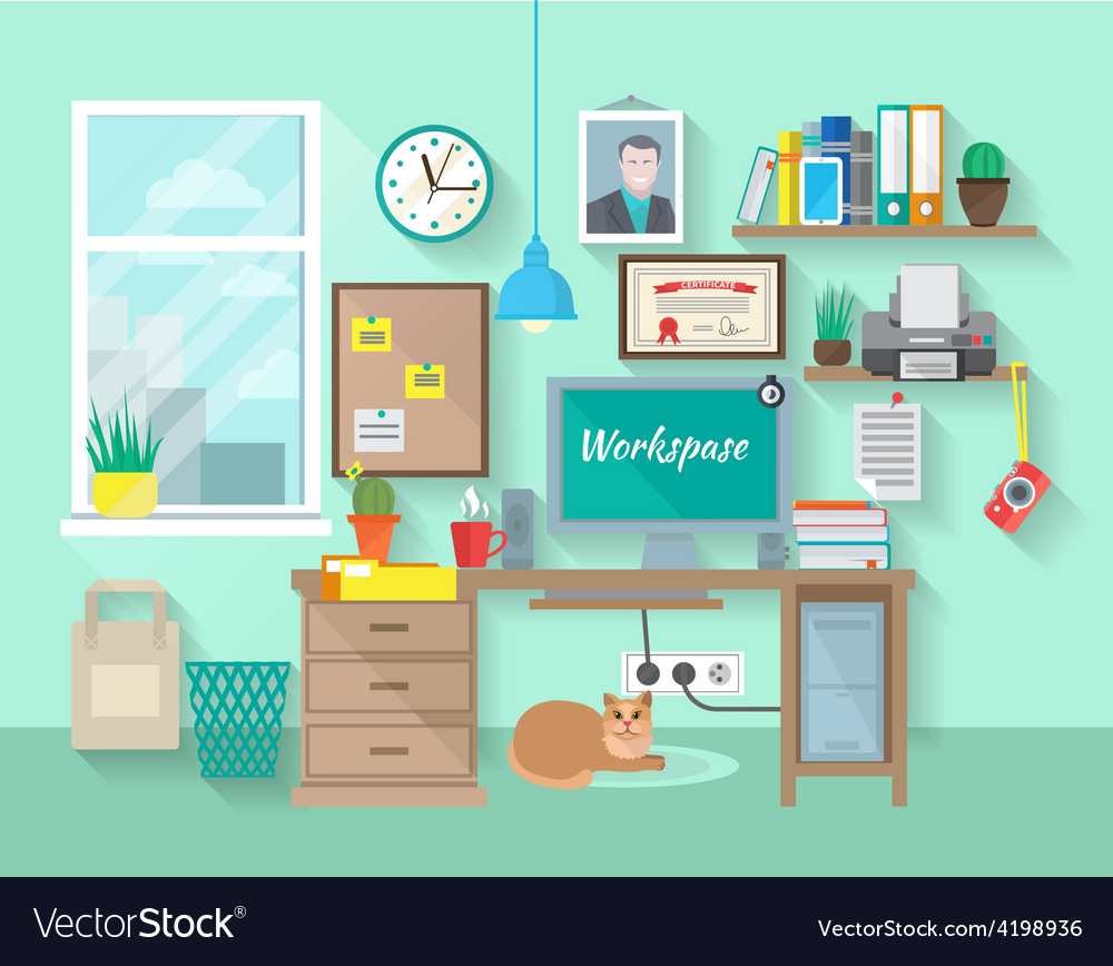 Workplace in room vector | Price: 1 Credit (USD $1)