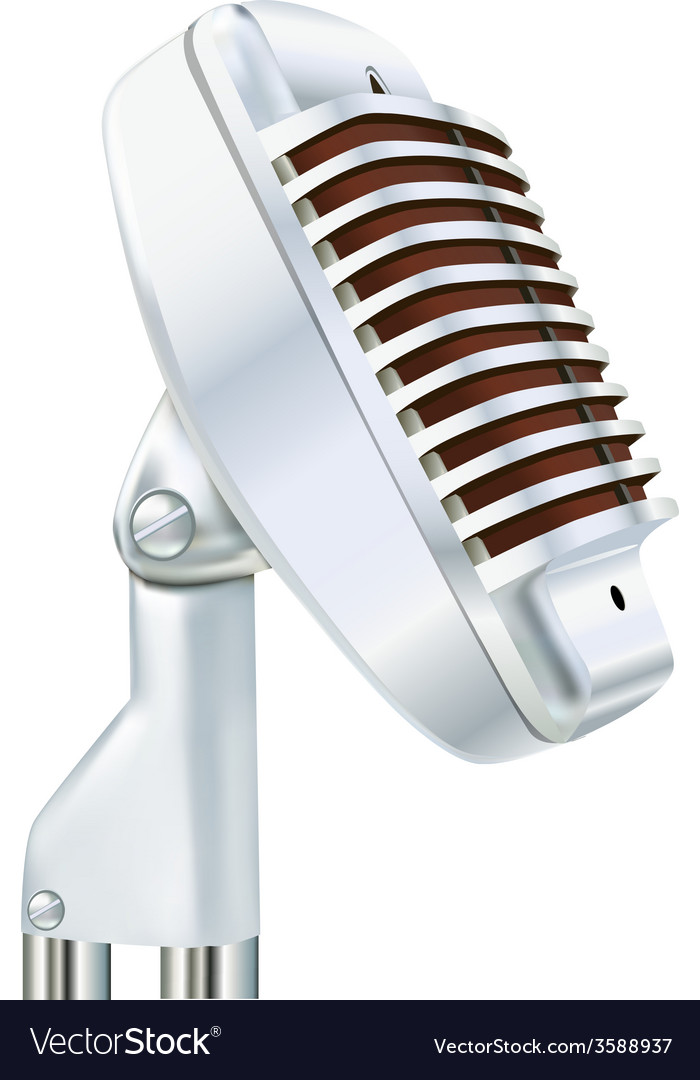 Aluminum microphone on a white vector | Price: 1 Credit (USD $1)