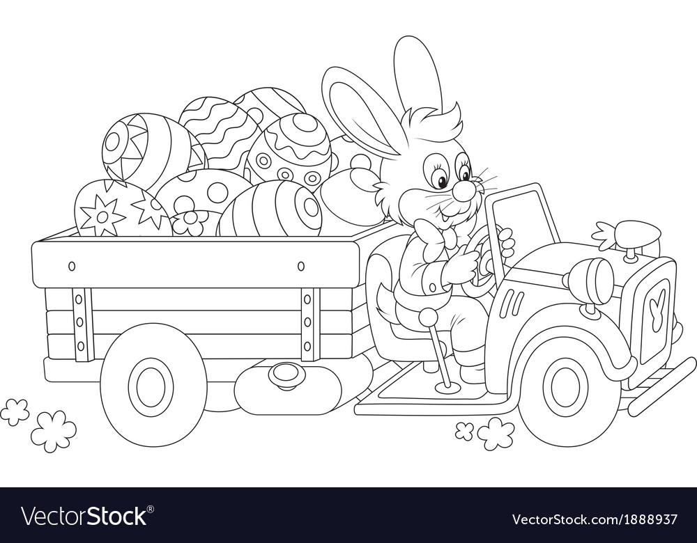 Bunny carries ester eggs vector | Price: 1 Credit (USD $1)