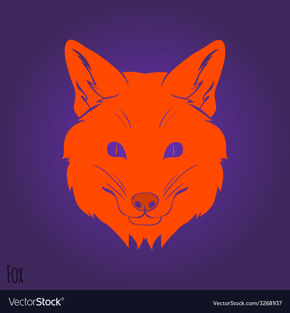 Face red fox silhouette vector | Price: 1 Credit (USD $1)