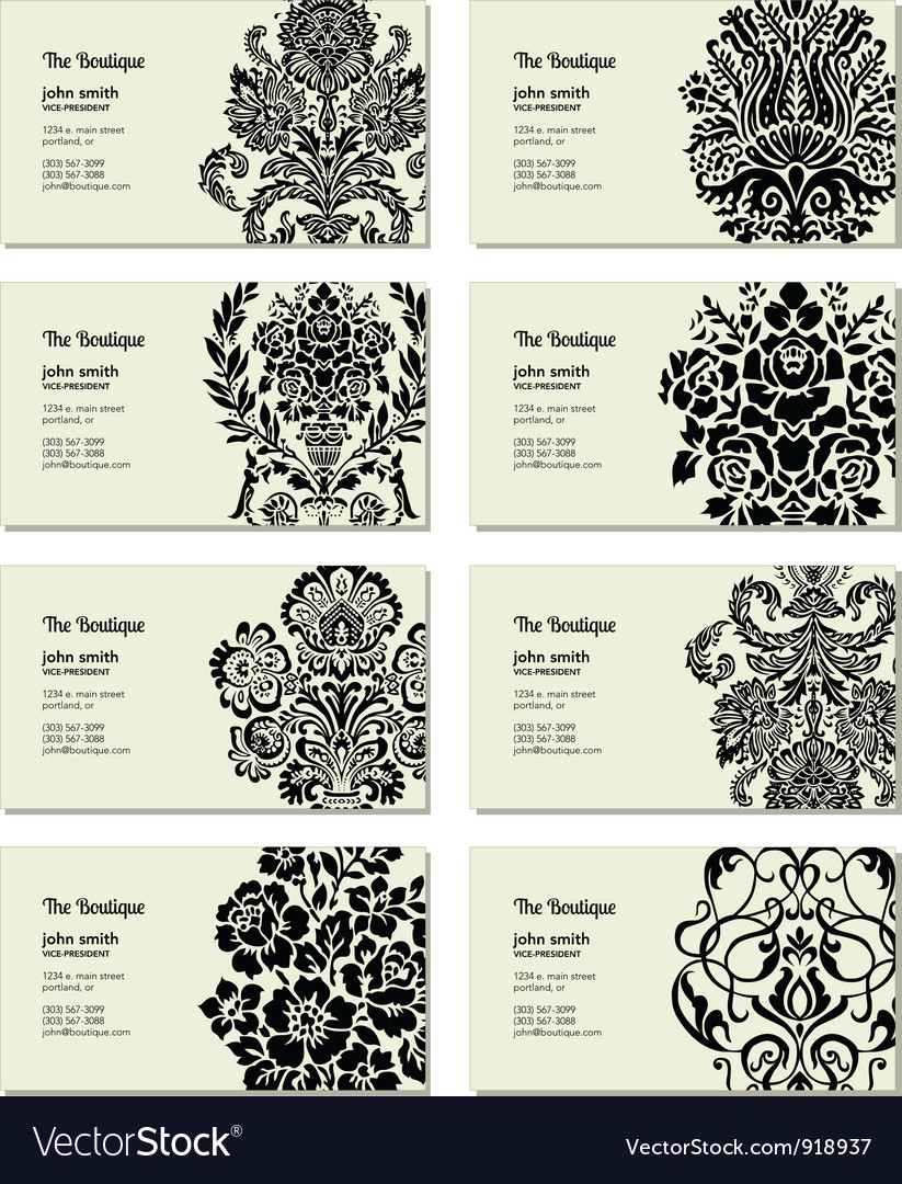 Floral business cards vector | Price: 1 Credit (USD $1)