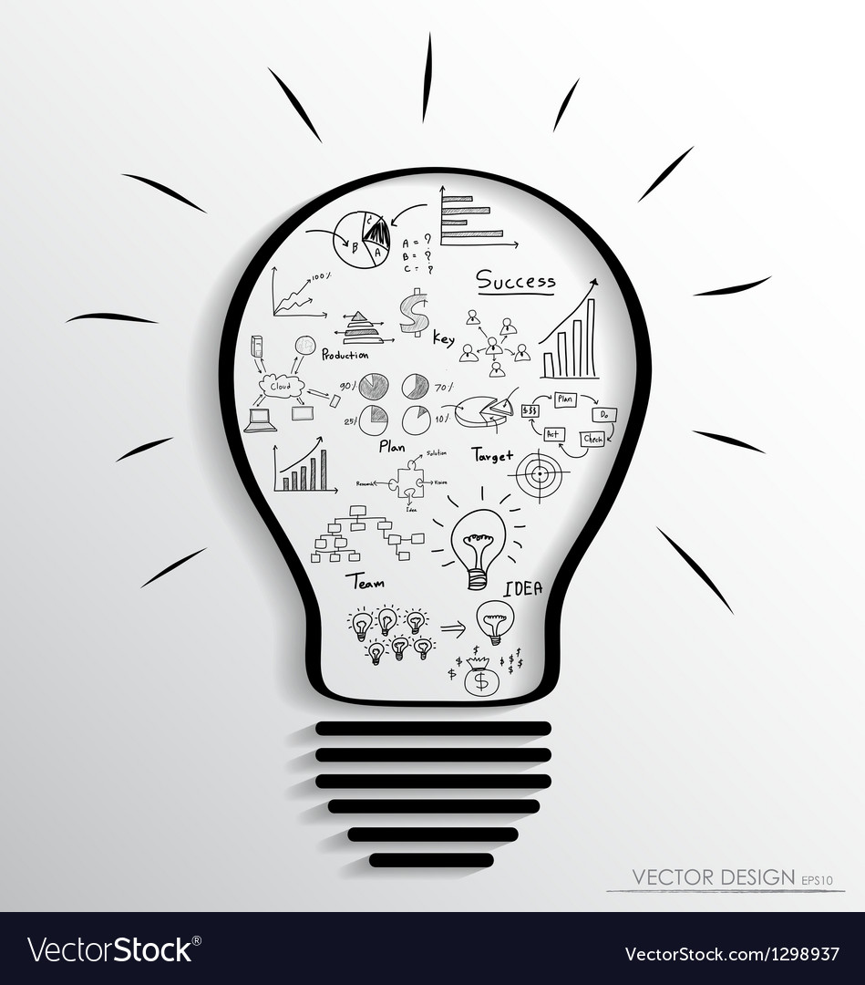 Light bulb with elements of infographics and graph vector | Price: 1 Credit (USD $1)