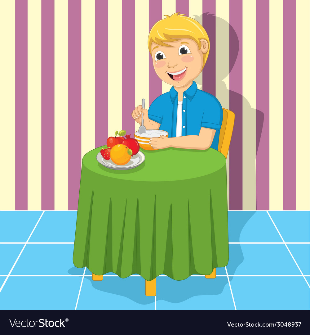 Little boy eating meal vector | Price: 1 Credit (USD $1)
