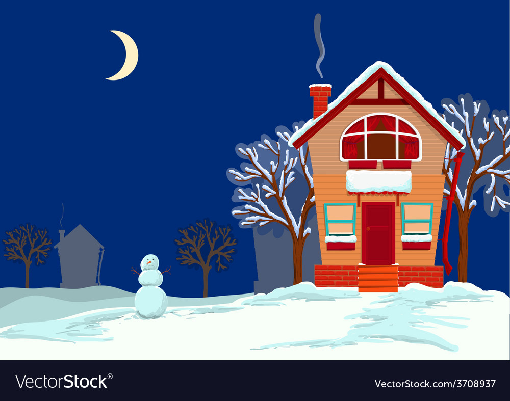 Quiet evening in the winter vector | Price: 1 Credit (USD $1)