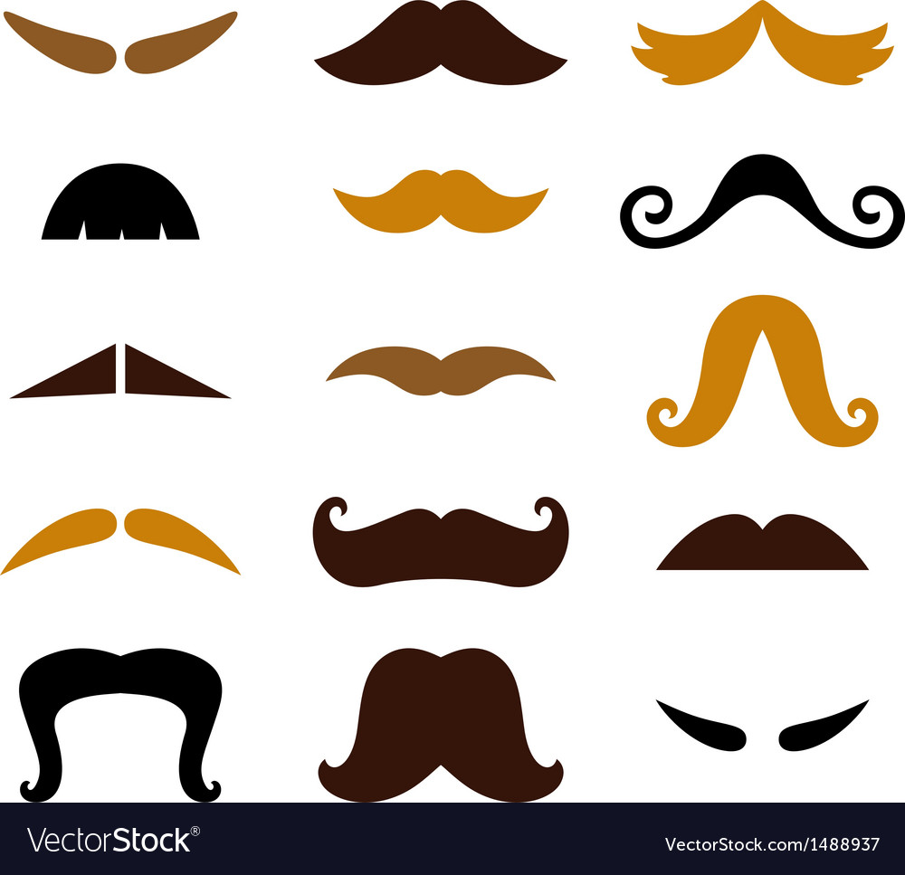 Set of retro colorful mustaches isolated on white vector | Price: 1 Credit (USD $1)